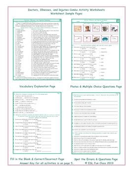 Doctors, Illnesses, and Injuries Combo Activity Worksheets