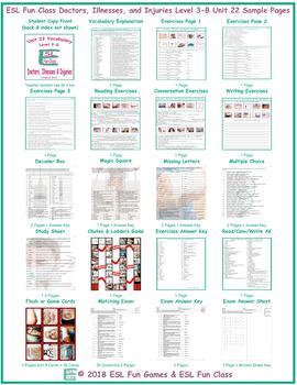 Doctors, Illnesses, and Injuries Level 3-B Unit 22 Bundle