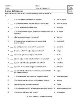 Doctors, Illnesses, and Injuries Spanish Matching Exam