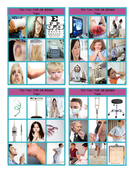 Doctors, Illnesses and Injuries Tic-Tac-Toe or Bingo