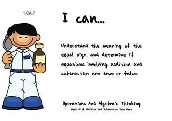 Doctors Kids Theme 1st grade math Common Core Posters first Grade Standards