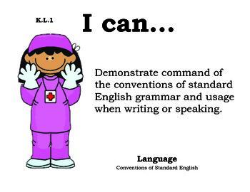 Doctors Kindergarten English Common core standards posters