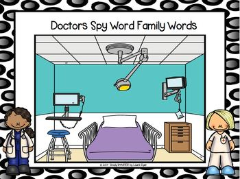 NO PREP Community Helper Themed Word Families I Spy Game