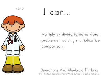Doctors Theme 4th grade math Common Core Posters fourth Gr