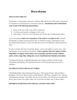 DocuDrama Assignment (Grade 11 Drama Summative)