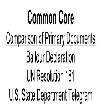 Document Analysis; Balfour Declaration, UN Resolution 181,