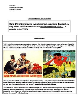 Document Analysis Essay - Russian Revolution or America in