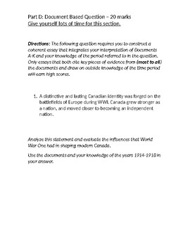 Document Based Question - Canada and World War 1