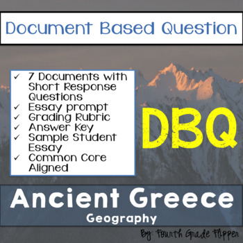 Document Based Question (DBQ) Ancient Greece-Common Core State Standards CCSS