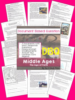 Document Based Question (DBQ) The Middle Ages-Common Core State Standards CCSS