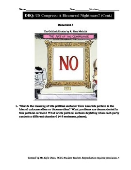 Document Based Question (DBQ) United States Congress: A Bicameral Nightmare?