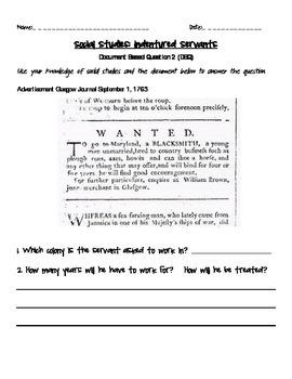 Document Based Question (DBQ) on Indentured Servants