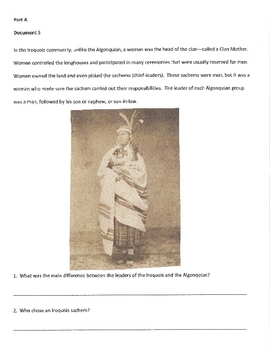 Document Based Question (DBQ) on Native Americans