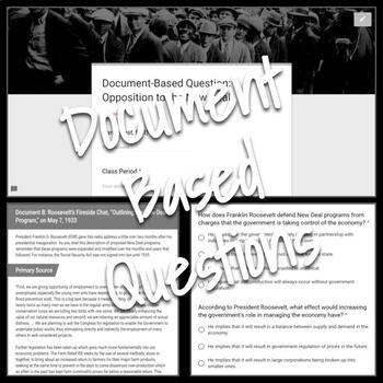 Document-Based Question: Opposition to the New Deal