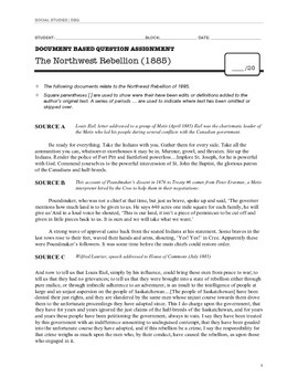 Document Based Question: The Northwest Rebellion