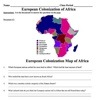 Document Based Questions: European Colonization of Africa | TpT