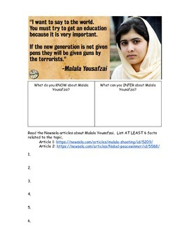 Document Based Questions: Malala Yousafi