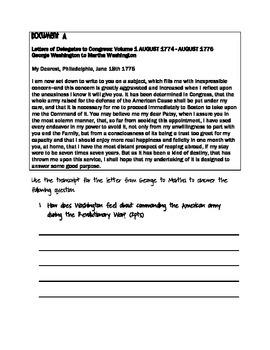 Document Based Questions - U.S History (George Washington)