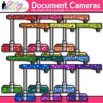 Document Camera Clip Art {Rainbow Visual Presenter Devices for Technology Use}