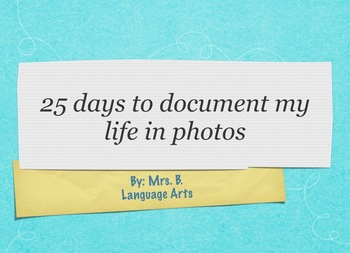 About Me Project, Document your Life Photo Project, Get to Know You Activity