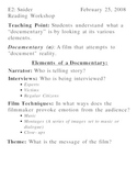 Documentary Activity - 2 Days