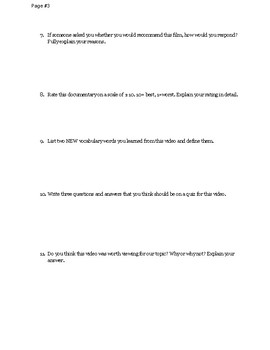 Documentary Worksheet