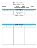 Documentation / Observation Form for Instructional and Academic Coaches