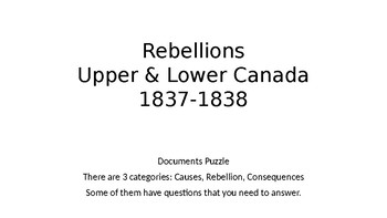 Documents Puzzle - Rebellions in Upper & Lower Canada