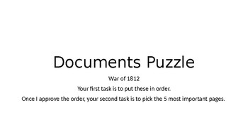 Documents Puzzle - War of 1812