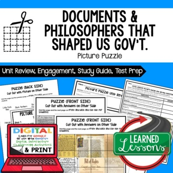Documents and Philosophers Picture Puzzle, Test Prep, Unit Review, Study Guide