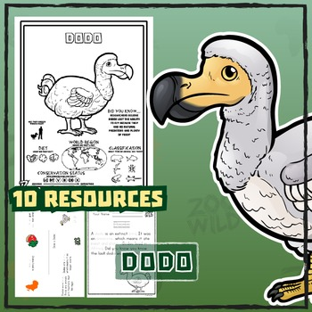 Dodo -- 10 Resources -- Coloring Pages, Reading & Activities