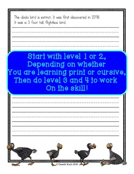Dodo Bird Copywork -Penmanship Practice for Print and Cursive Writing