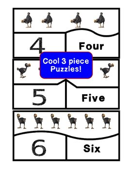 Dodo Bird Counting Set Count 1-20 with posters, flash cards, worksheets, puzzles