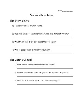 Dodsworth in Rome guided reading comprehension questions