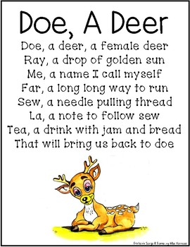 picture relating to Deer Printable called Doe A Deer Printable Tune Lyrics Webpage (Do Re Mi)