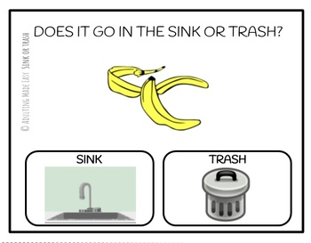 Does It Go In The Sink or Trash? Task Clip Cards Life Skills