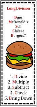 Does McDonald's Sell Cheeseburgers? Long Division Task Cards
