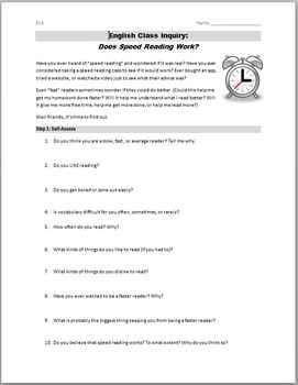 Does Speed Reading Work? An English Class Activity
