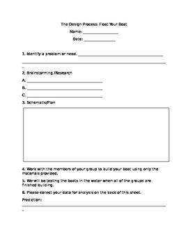 Does Your Boat Float? The Design Process Lab Activity Worksheet Engineering