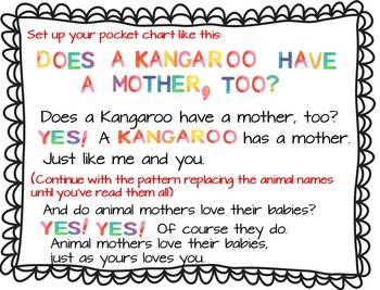 Does A Kangaroo Have A Mother Too Pocket Chart And Book