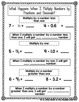 Does a Number Increase or Decrease When Multiplied by a Fraction?  TEKS 6.3B