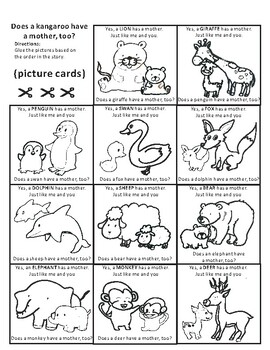 Does a kangaroo have a mother, too? by Eric Carle Sequencing Text Activity