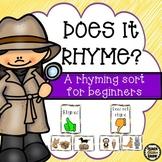 Rhyming Sort - A rhyming activity for beginning rhymers