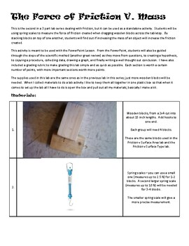 Does mass affect Friction? - Lesson Plan Guide and Grading Rubric