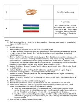 Does surface area affect friction? - Lesson Plan & Grading Rubric