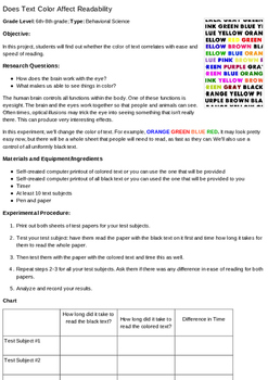 Does text color affect readability?  For Grades 6 to 8