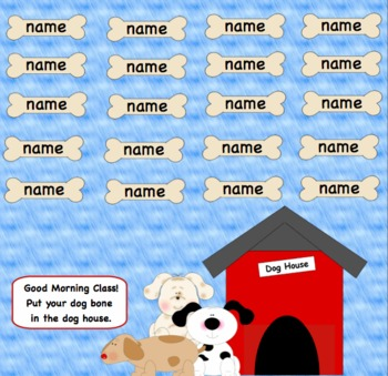 Dog Attendance SmartBoard for 30, 20, or 15 Students