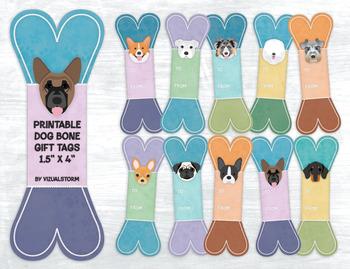 Dog Bone Gift Tags - 10 Handmade Printable Hang Tags/Party Favors for Dog Lovers