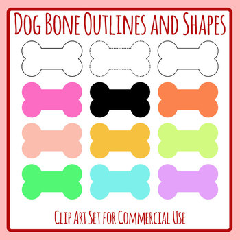 Dog Bones Outlines and Shapes Clip Art Set Commercial Use