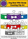 Dog Bowls With Bones Counting Clipart